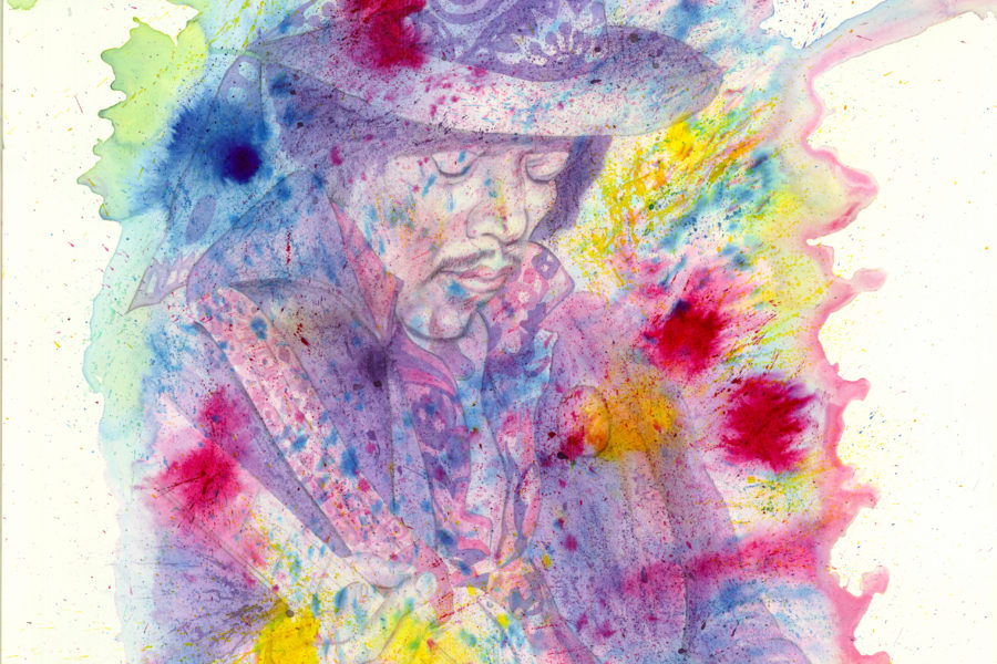 Jimi Hendrix Rainbow Bridge Painting