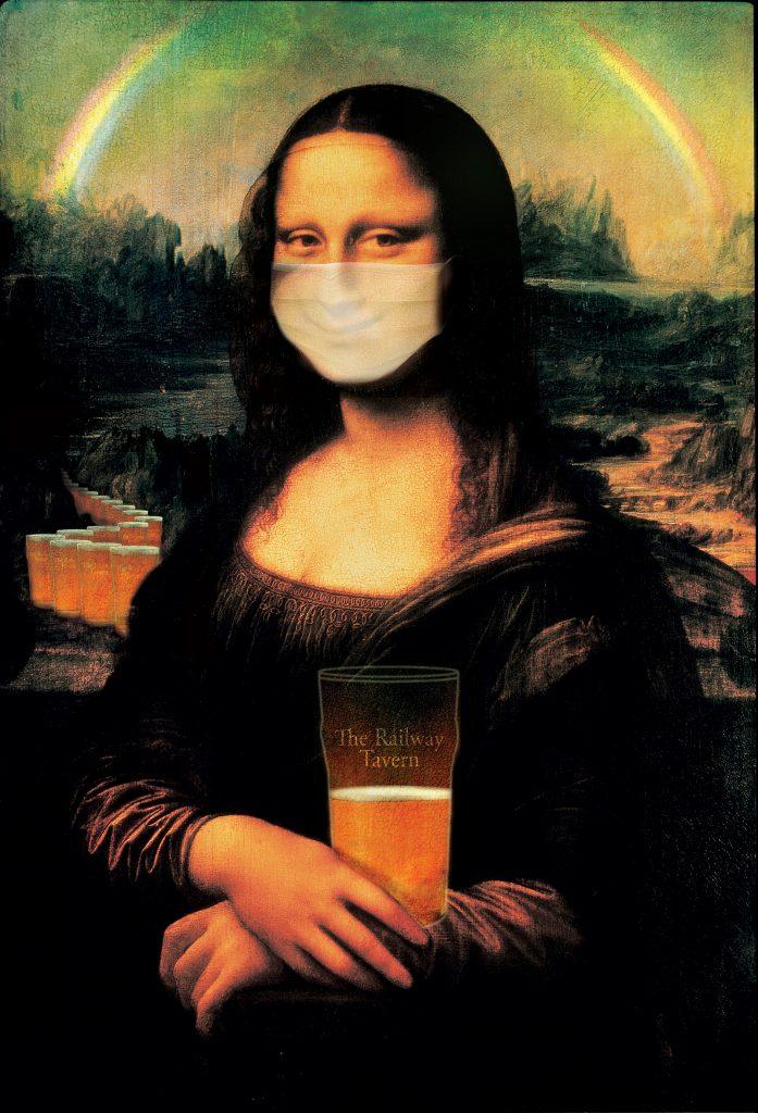Mona Lisa with Mask and Rainbow