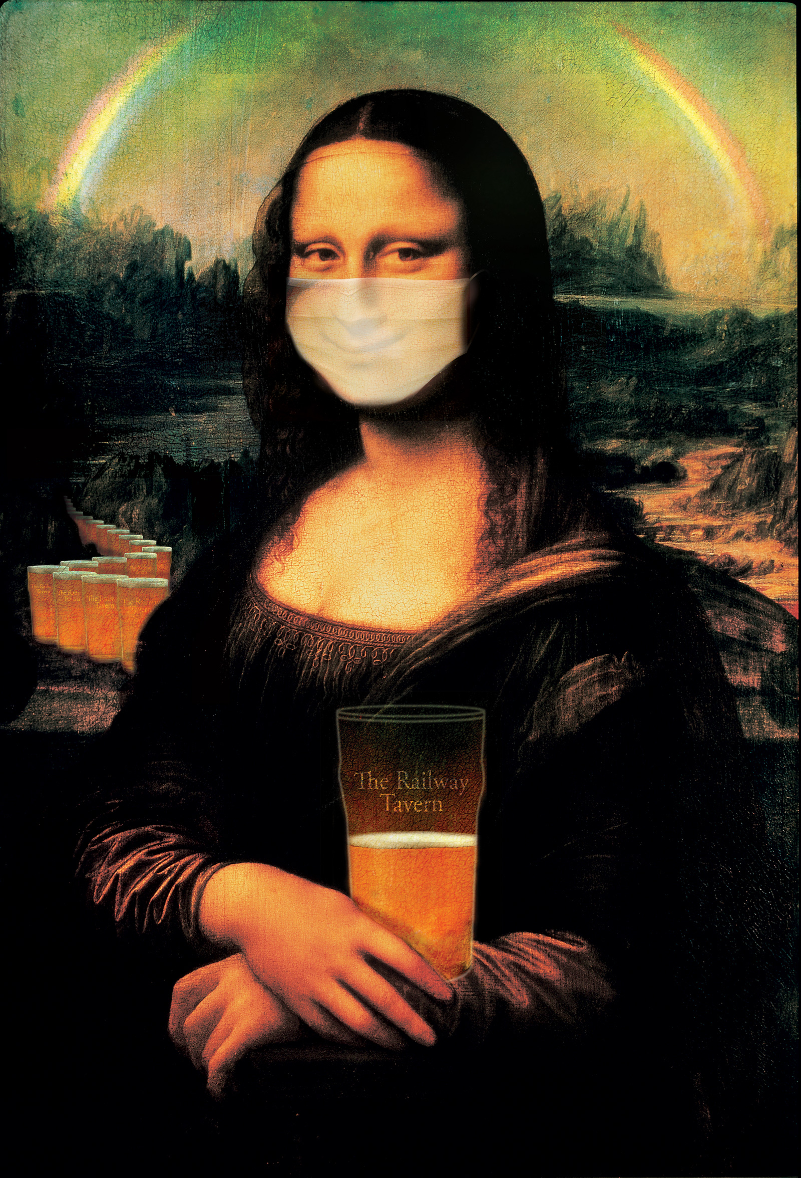 Mona Lisa with Mask and Rainbow